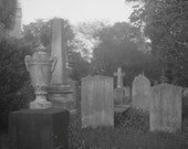 Cemetery Scene with Urn in Charleston Black and White Photograph