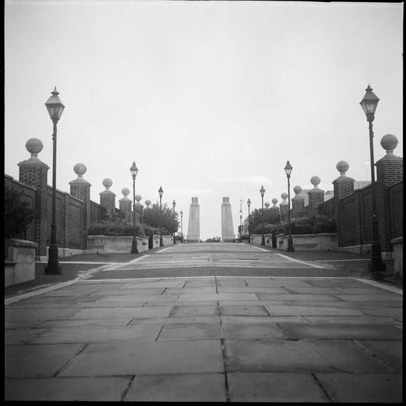 Urban City Street Scene Decor Bridge and Lamps in Philadelphia Film Black and White