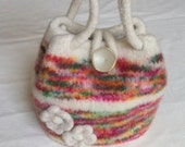 Cream and Flower Garden Colored Felted Knit Purse                    - PROCEEDS FOR CHARITY
