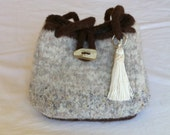 Natural Oatmeal Beige Hand Knit Felted Purse           - PROCEEDS FOR CHARITY