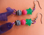 Clearance Neon Rave Earrings---- dangling earrings with neon beads and purple barbie shoes