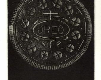 Oreo Cookie - Original Mezzotint Print