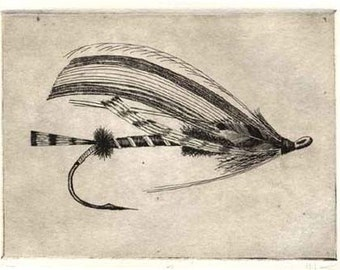 Fly Fishing print -   Etching - Silver Doctor -  Salmon Fly Etching