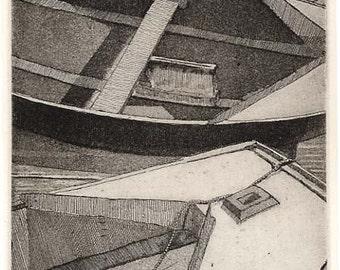 "Landscape print - Boat - Original Etching Aquatint - ""Prams"""