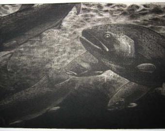 Fly Fishing Mezzotint Print -The Run