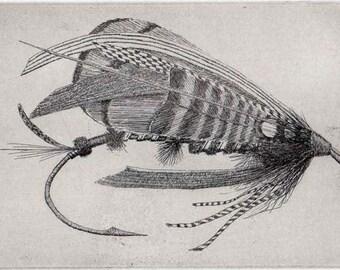 Fly Fishing Etching  - Ian Mackenzie - Fly Fishing  Original Etching