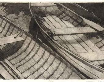 Boat print - Original Etching  Aquatint- Overcast