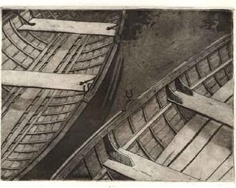 Boat Print Etching Aquatint Intaglio Printmaking - Overcast