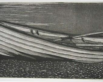 "Landscape print - Boat -  Original Etching Aquatint - ""Beached"""
