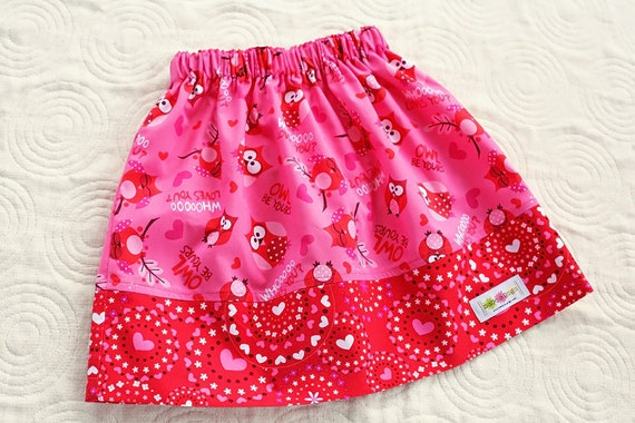 SAMPLE SALE Owl Be Yours Valentine's Day Skirt for Babies, Toddlers and Girls by babe-a-gogo