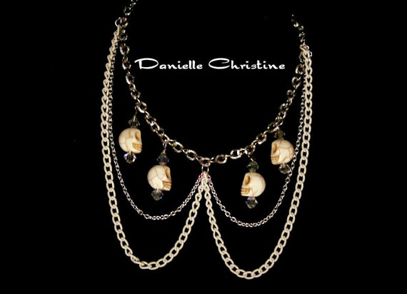 Skull Peter Pan Collar Necklace with Crystal Beads