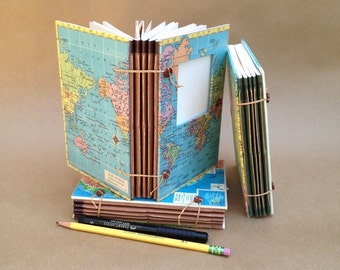 Compact Expandable Travel Journal with Custom Map - Pockets and Envelopes - MADE TO ORDER