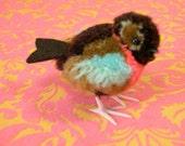 Fluffy Vintage Bird -  Felt & yarn