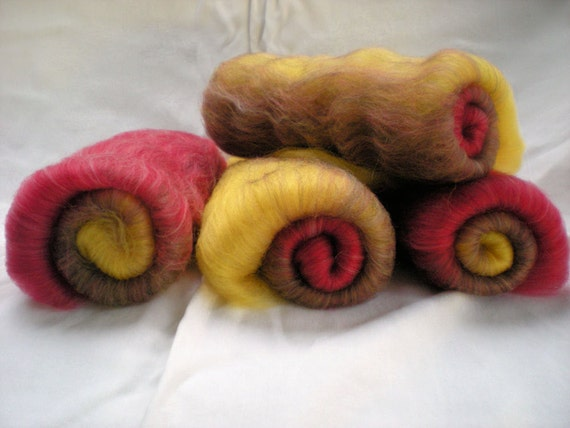 SALE--Sock spinning batts, 4 oz. of blended superwash wool and nylon for spinning your own sock yarn, AUTUMN