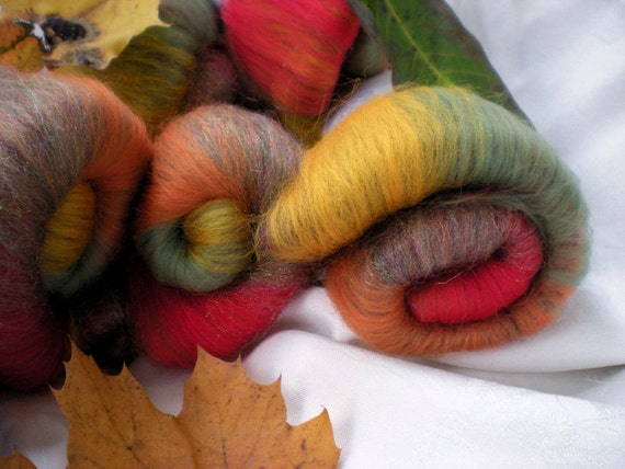 Spinning batts, 1.2 oz of Merino wool. Experience the last stubborn colors of an Autumn Oak.