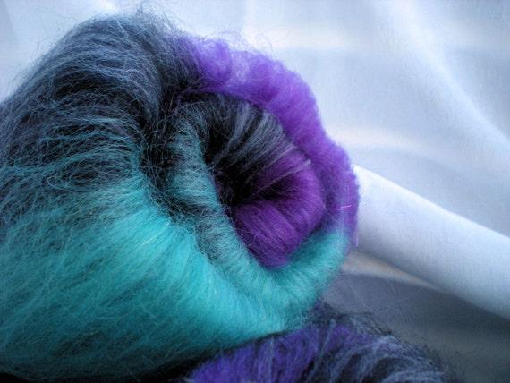 Fractal spinning made easy--Sock spinning batts for non-matching glittery socks, Spectra, 4.4 oz.