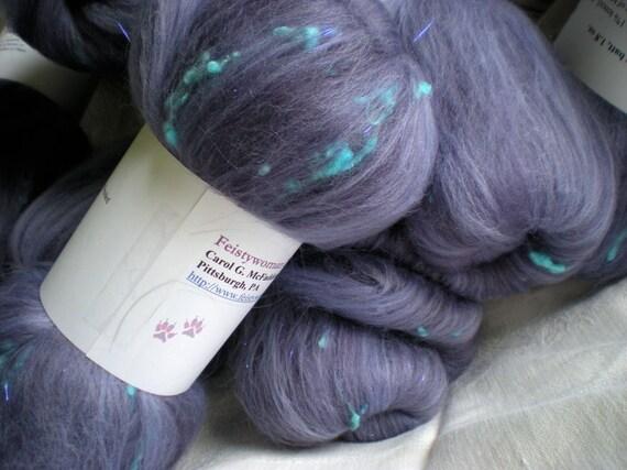 Spinning batts, Plum, 1.8 oz each, Merino wool, angelina glitter and dyed tencel nubs