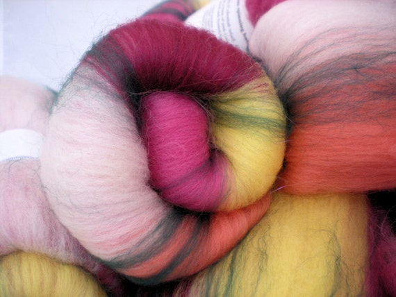 Spinning batts, Azaleas, 1.7 oz, Colonial and Merino wools and lots of sparkle.