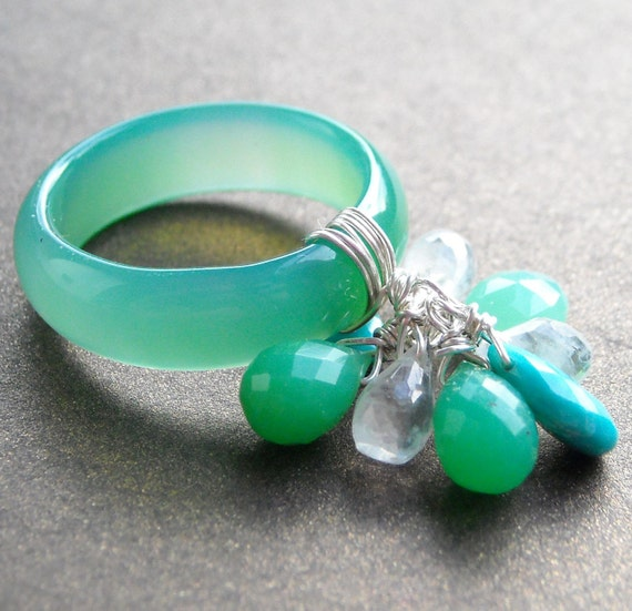 Cha Cha ... Chrysoprase, turquoise and moonstone ring