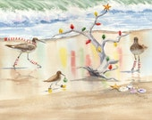 Decking the Tree sandpipers lighting driftwood Christmas tree giclee print
