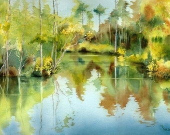 Tranquil Waters with trees reflecting giclee print