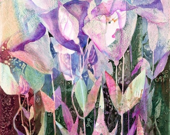 Spring Dance Abstract Floral giclee print from original watercolor