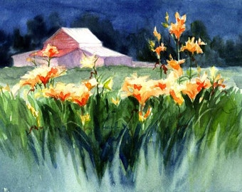 Barn with Lilies in NC mountains