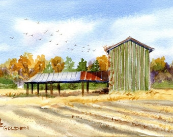Yesterday tobacco barn giclee print