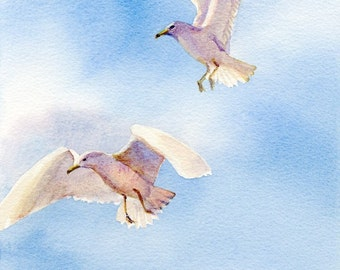 Flight giclee of two gulls