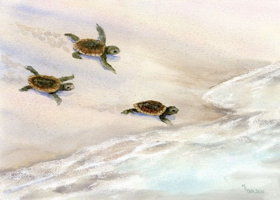 Tracks in the Sand Sea Turtle Beach Print from Watercolor Painting