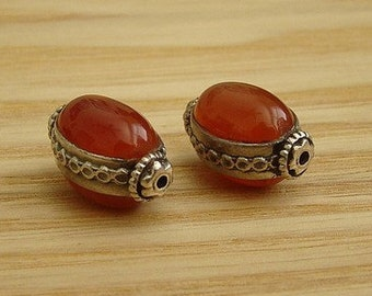 "SEMI PRECIOUS CARNELIAN Oval with Decorative Sterling Silver ""Hill Tribe"" Decorated Frame (2 pieces)"