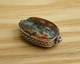 "SEMI PRECIOUS MOSS Agate Oval Pendant, 25mmx17mm with Decorative Stelring Silver Decorated ""Hill Tribe""  Decorated Frame Pendant,  1 piece"