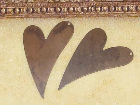 2 Vintaj Natural Brass Artisan Heart Stamping Pendant 41x24mm