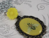 Bumble Bee Metal Pendant Necklace