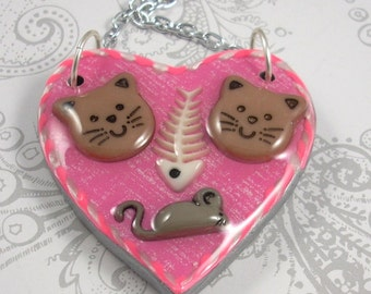 Kitty Cat Love Heart Pendant Necklace