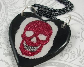 Red Glitter Skull Heart Pendant Necklace