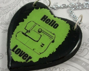 Green Sewing Machine Heart Pendant Necklace