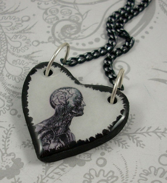 Small Vintage Anatomy Heart Pendant Necklace