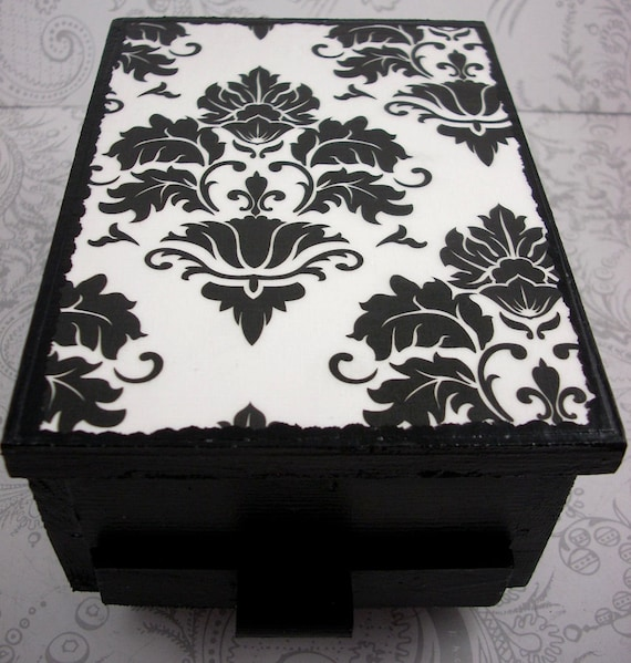 Black and White Damask Stash Jewelry Box with Mirror