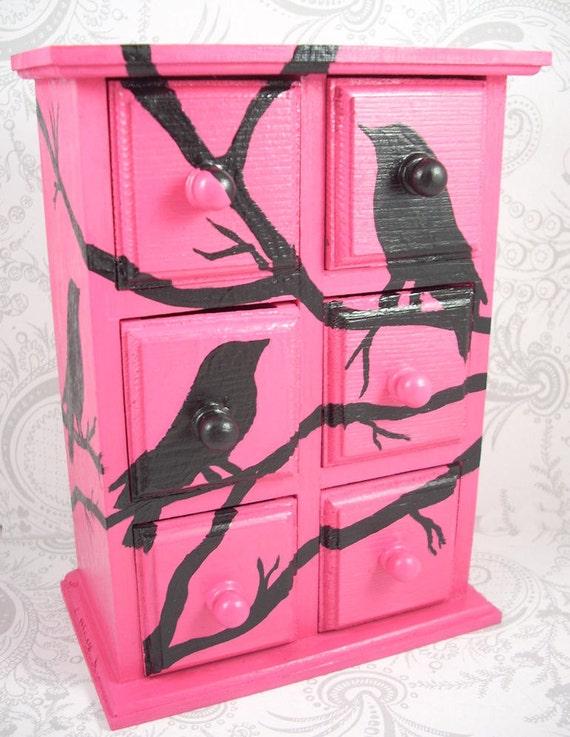 Hot Pink Black Bird Stash Jewelry Box