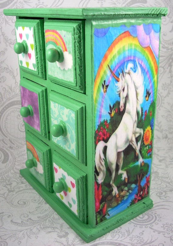Green Unicorns and Rainbows Stash Jewelry Box
