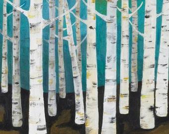 Lisa Congdon Large Birch Tree Forest Archival Print