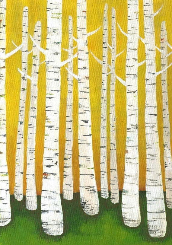 Lisa Congdon Large Birch Tree Forest Archival Print - Yellow
