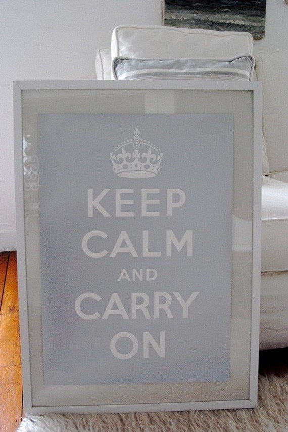 Keep Calm And Carry on Poster - Metallic Silver.