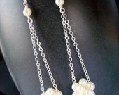 Cream Swarovski Pearl Long Cluster Ball Dangle Earrings with Sterling Silver Chain and Earwires