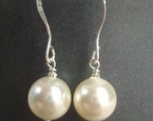 Cream Swarovski Pearl Simple Drop Earring with Sterling Silver Findings - The Rebecca Collection - Choose Your Colors