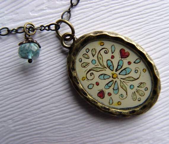 Floral Pattern Hand Painted Necklace