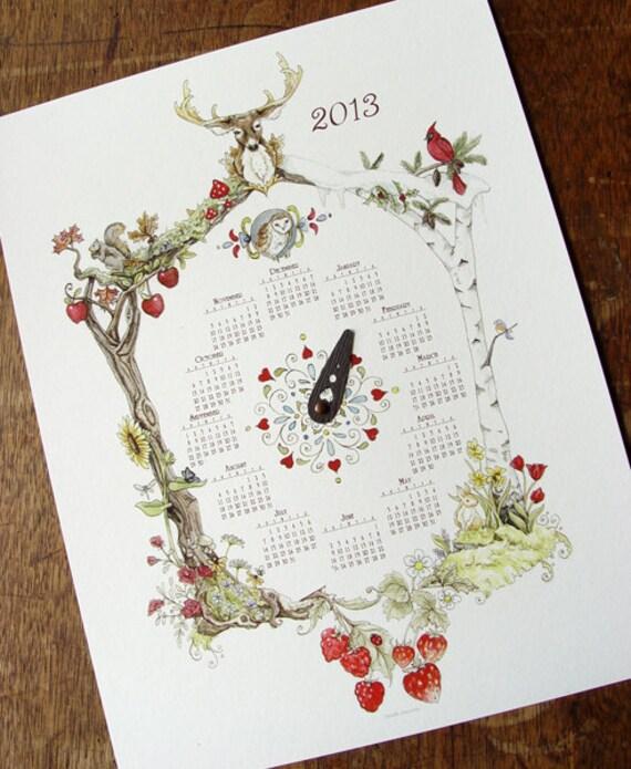 "SALE 2013 The Four Seasons Woodland Cuckoo Clock Calendar  8.5x11"" Print"