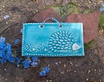 Turquoise Mini Mama Hedgehog Tile