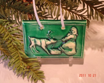Green Santa and Rudolph Tile Ornament